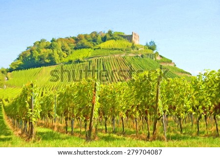 vineyard and old ruin on hill, south germany - illustration based on own photo image