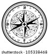 Vintage antique compass in black and white - stock vector
