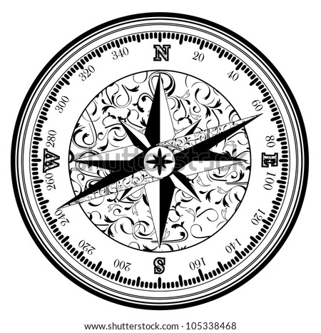 Vintage antique compass in black and white - stock photo