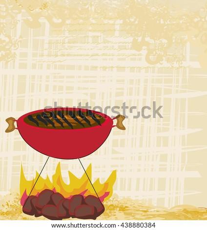 Vintage Barbecue Party Invitation  - stock photo