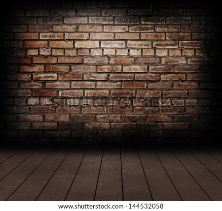Vintage brick wall and wood floor texture. - stock photo