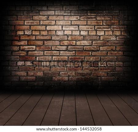 Vintage brick wall and wood floor texture. - stock photo