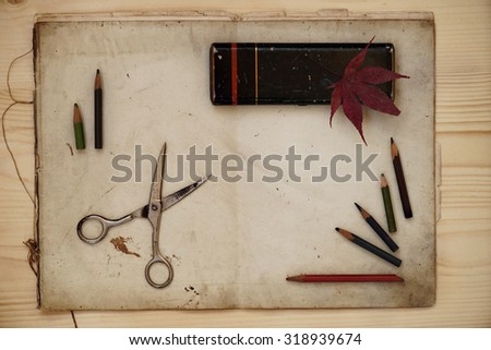 Vintage composition on the old paper background           - stock photo