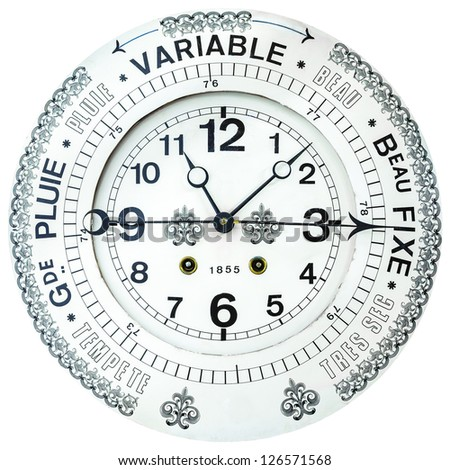 1855 Vintage French white barometer with clock isolated on a white background - stock photo