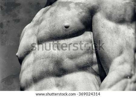 Vintage image of a muscular male body