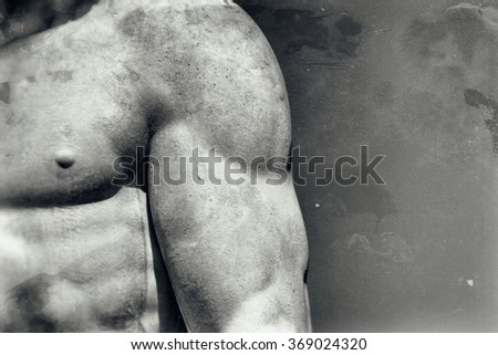 Vintage image of a muscular male body - stock photo