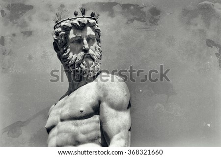 Vintage image of Neptune, god of freshwater and the sea in Roman religion