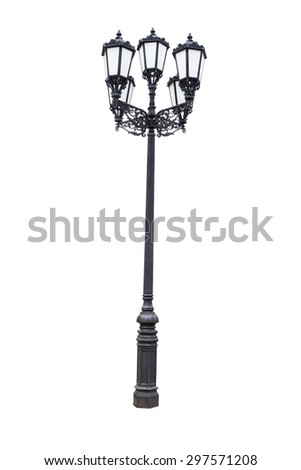 vintage iron black lamp post standing on white background - stock photo