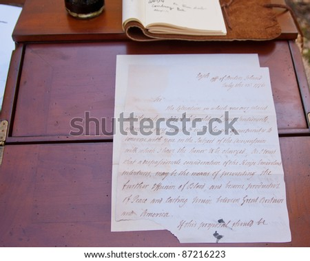 1776 Vintage letter commenting on the fight for American independence. - stock photo
