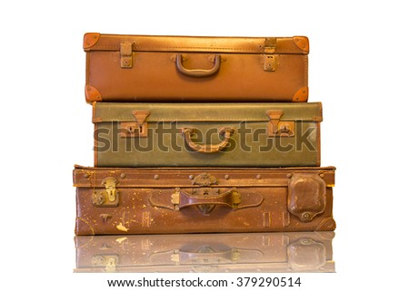 Vintage luggage for travel with white background.