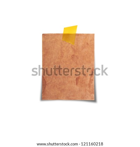 vintage note paper on white background