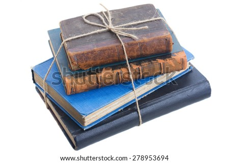 vintage old books  isolated on white background - stock photo