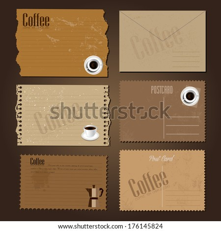 Vintage old  postcard with coffee design - stock photo