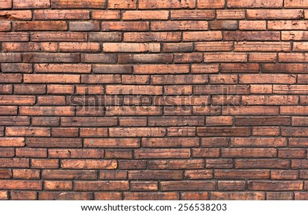 vintage orange pattern of brick wall .