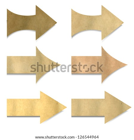 6 Vintage Paper Arrows, Isolated On White Background