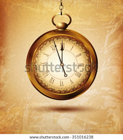 vintage pocket watch on an old grunge background - stock photo