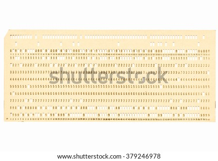 Vintage punched card for computer data storage vintage - stock photo