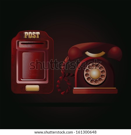 vintage red postbox and telephone - stock photo