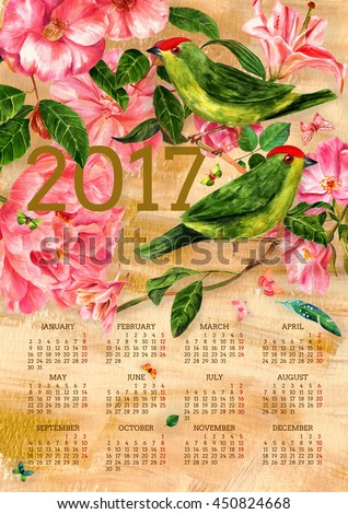 2017 vintage style calendar with watercolor drawings of green exotic birds, pink flowers (roses, camellias, peonies, lily), and butterflies, hand painted on golden texture; all months on one page