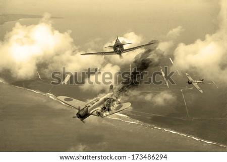 'Vintage Style' image of a World War 2 US fighter plane shooting down Japanese torpedo bomber over Saipan. (Artists Impression) - stock photo