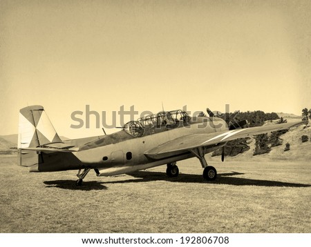 'Vintage Style' image  of World of American War 2 Torpedo bomber. First saw combat in 1942 - stock photo