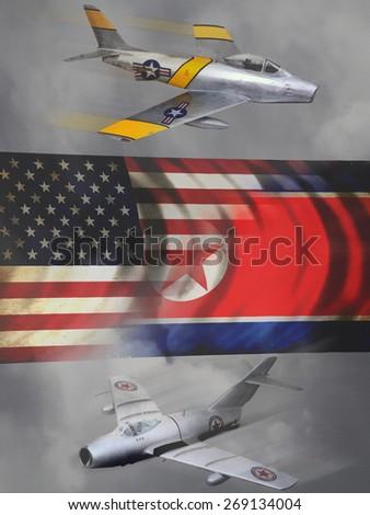 'Vintage style' Korean War aircraft digital illustration. - stock photo