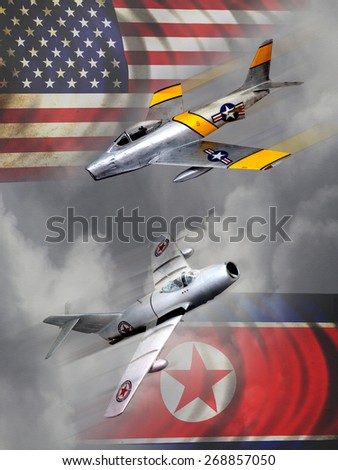 'Vintage style' Korean War aircraft digital illustration. Featuring Russian and American made figure jets - stock photo