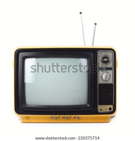 Vintage style old television isolated on white background. - stock photo
