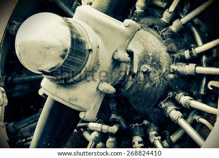 'Vintage Style' retro grunge image of propellor and engines of vintage place - stock photo