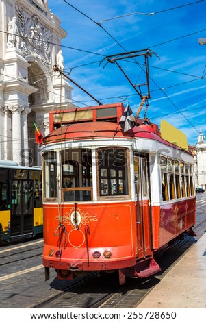 ? Vintage tram in the city center of Lisbon - stock photo