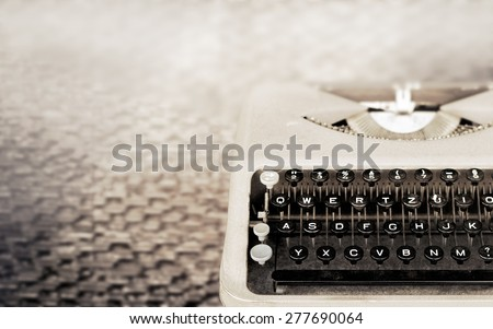 Vintage Typewriter, Antique Typewriter, Vintage color tone and soft focus - stock photo