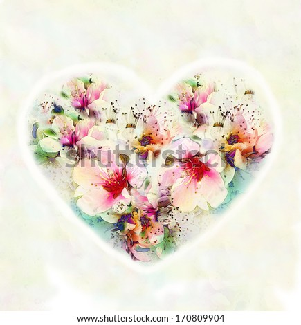 Vintage valentine card with abstract heart with flowers on hazed watercolor background - stock photo