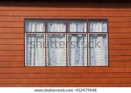 Vintage window and wooden facade in asian style