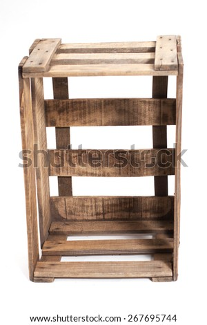 vintage Wooden box isolated on a white background - stock photo
