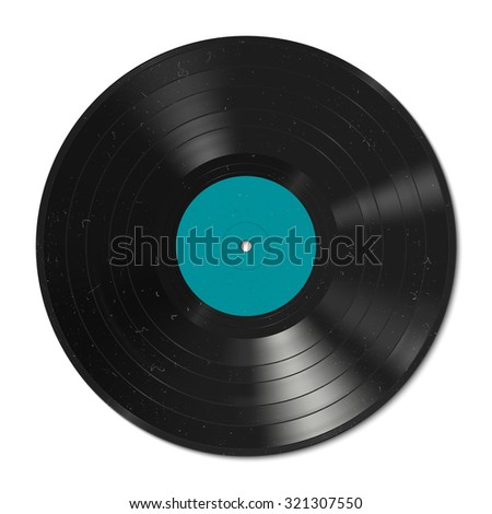 Vinyl record with dust on the surface. Raster version. - stock photo