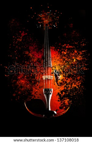 Violin is exploding - dispersion effect - - stock photo
