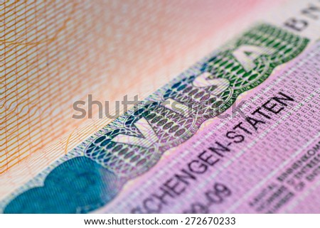 Visa stamp travel passport immigration macro emigration