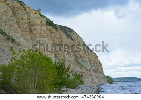 Volgograd region, Russia May 17, 2015. Stolbichi - steep wall on the banks of the Volga, folded flasks yellowish-gray Paleogene, which in the course of exogenous processes split into ten high towers