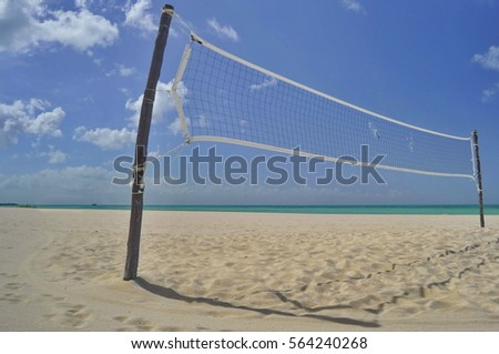 Volleyball Net on the Beach, Cozumel, Mexico