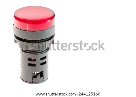 24 volts red indicator for continuos operation - stock photo