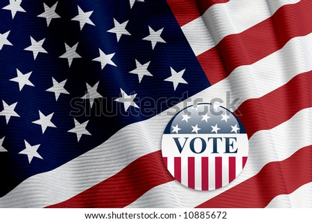 'Vote' round button on an American flag - stock photo