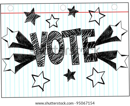 """Vote"" Written in hand drawn block Letters with Stars"