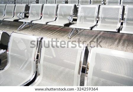 waiting room steel chair - stock photo
