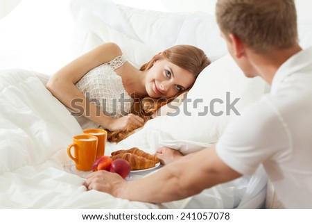Wake up with breakfast in bed for truelove - stock photo