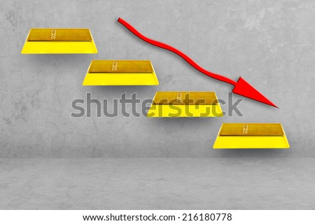 walking down gold bars stepping ladder have red rising arrow idea concept for financial crisis - stock photo
