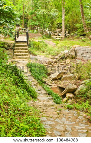 Walkway and wood bridge - stock photo