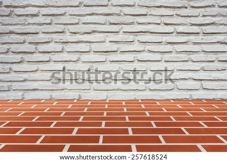 wall and brick floor texture background - stock photo