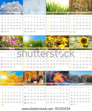 2012 wall calendar with seasonal nature photo - stock photo