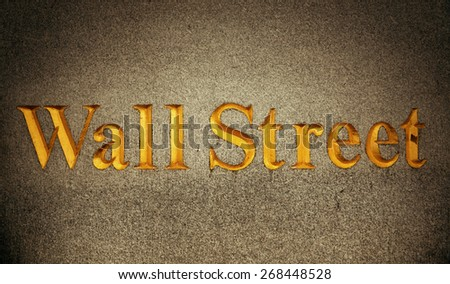 Wall Street road sign in downtown Manhattan, New York City - stock photo