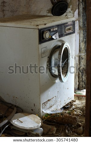 washing machine broken - stock photo